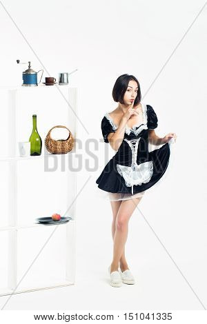 Young Girl Brunette Maid