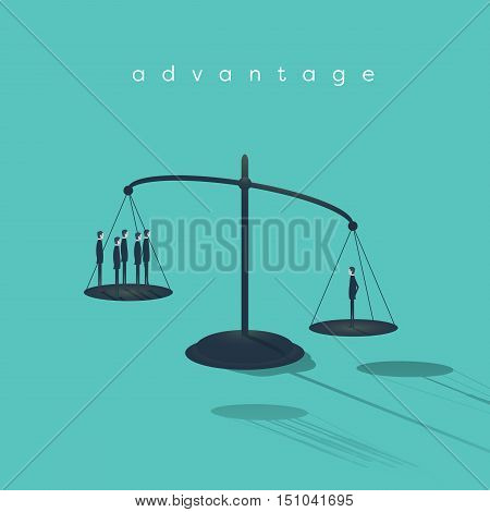 Businessman on scales outweighs other businessmen. Symbol of talent, creativity and individuality. Eps10 vector illustration.