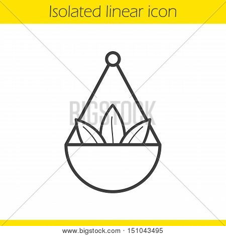 Apothecary herbs in scalepan linear icon. Thin line illustration. Contour symbol. Vector isolated outline drawing