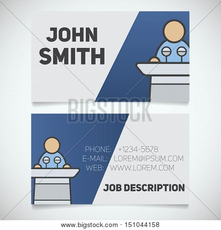 Business card print template with conference speaker logo. Easy edit. Orator. Politician. Stationery design concept. Vector illustration