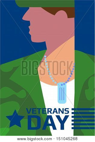 Poster of Veterans Day concept vector illustration. Traditional Day of Remembrance for US Veterans