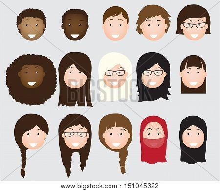 People avatars collection vector woman flat icon