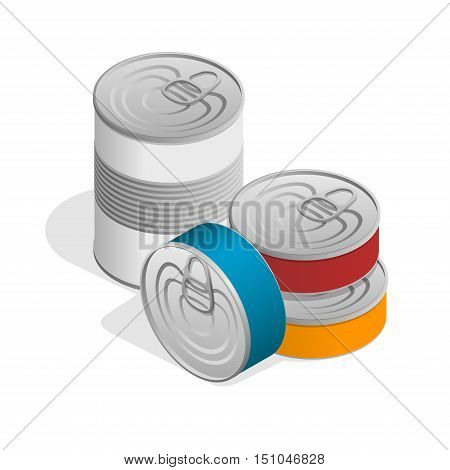 Isometric closed food tin cans with blank label isolated on white.