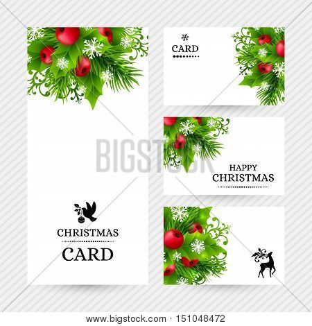 Christmas backgrounds with fir branches, holly leaves, red holly berries and glowing snowflakes. Winter holiday banners with decorations and greeting text. Vector illustration.