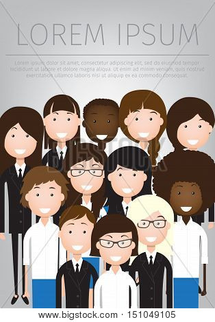 vector flat illustration of women business community. a large group of women. summit or conference family image