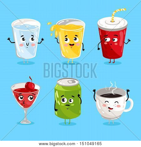Cartoon funny drink characters isolated vector illustration. Funny drink face icon. Hot and ice drink emoji. Funny juice, laughing coffee. Cartoon emoticon face of cute drink. Cute juice.