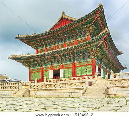 Geunjeongjeon, the main throne hall. Gyeongbokgung Palace. Seoul. South Korea.