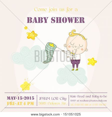 Baby Boy Catching Stars on a Cloud - Baby Shower or Arrival Card - in vector