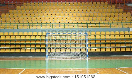 Sports ground for handball or futsal. No one in the stands.