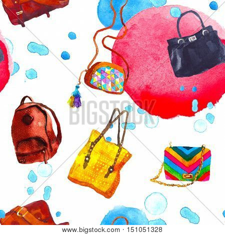 Awesome Watercolor seamless pattern with women handbags. illustration