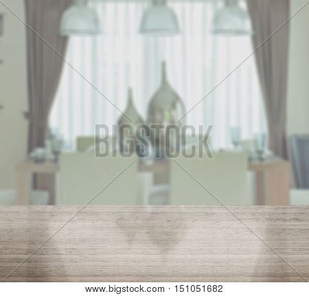 Granite Table Top With Blur Of Dining Table In Modern Dining Room