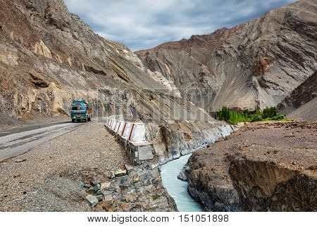Indian lorry truck on NH-1 (Srinagar Leh national highway) in Himalayas. Ladakh, India