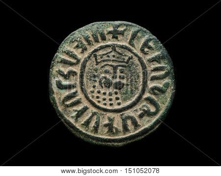 Ancient Copper Armenian Coin With Ruler Portrait Isolated On Black