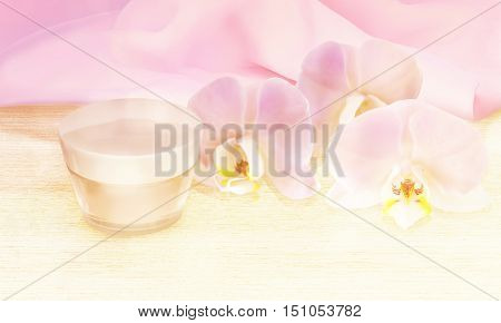 Face cream with Orchid flower on wooden table. 3D illustration