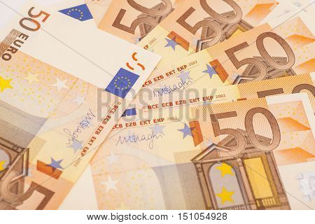 Euro money banknotes background. 50 euro notes.