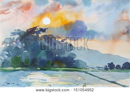 Watercolor landscape original painting colorful of mountain and emotion in sunset background