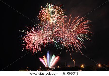 Fireworks over Chicago, Illinois, USA, Lake Michigan