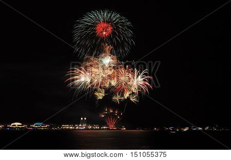 Fireworks display over Lake Michigan Chicago, Illinois