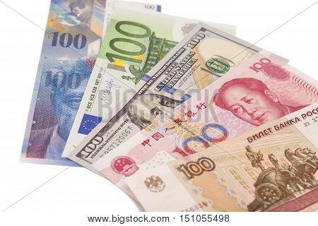 American dollars European euroSwiss francChinese yuan and Russian Ruble bills