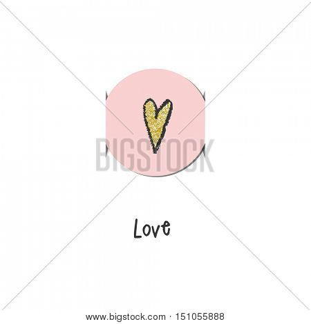 Greeting card with pink heart. For birthday invitation,  baby shower, mother day, valentine day. Cute graphic design element.