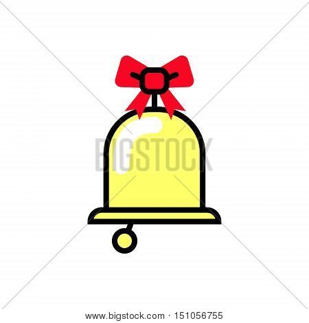 Christmas bell icon with a bow. Vector Linear flat