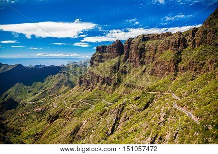 landscape with the mountains near Masca village Tenerife Canary Islands Spain