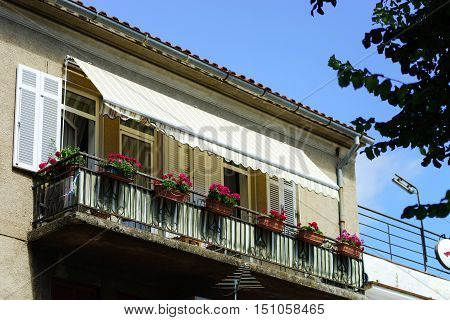 House With Balcony On Sea Resort, Sunny Day, Touristic Concept.