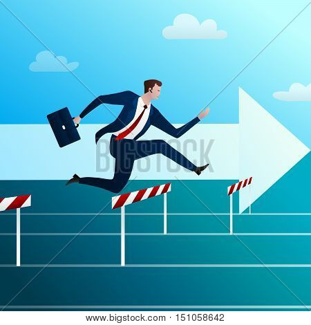The successful businessman runs to the purpose and overcomes all obstacles in the way. Concept. Vector illustration.