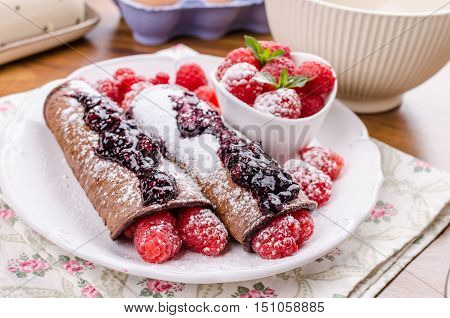 Cocoa Pancakes With Berries