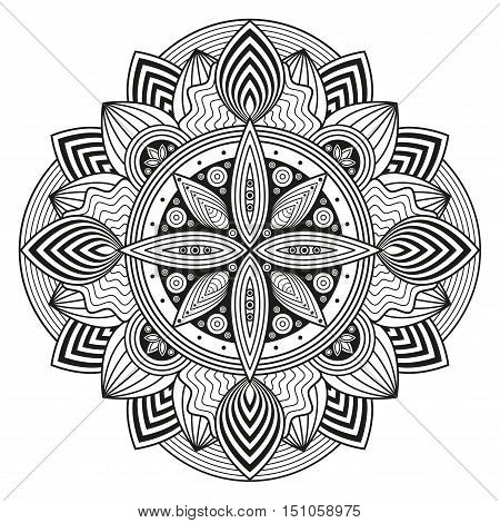 Woodcut style mandala pattern. Black & white ethnic print for coloring book pages, tattoo, mural decor.