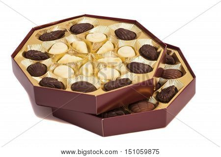 Boxes of Chocolate Candy isolated on white