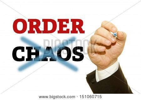 Hand writing ORDER and CHAOS word on a transparent wipe board.