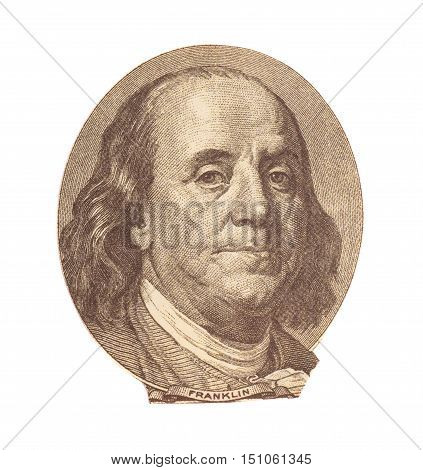 Portrait of Benjamin Franklinon on white background