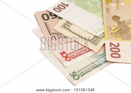 Chinese yuan European euro notes and American dollars