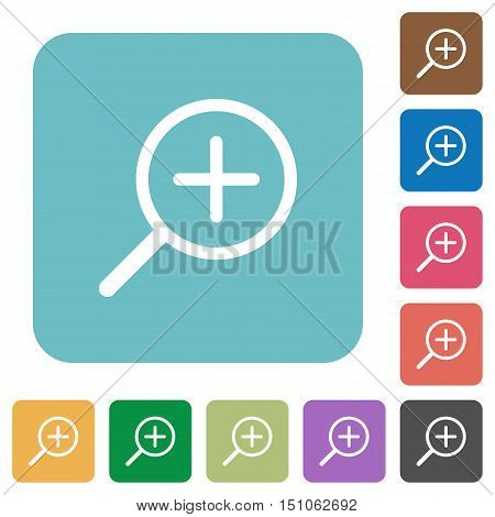 Flat zoom in icons on rounded square color backgrounds.