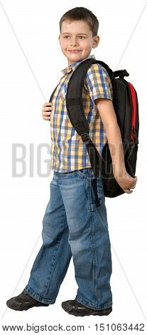 Smiling Little Boy Looking Sideways with Backpack, Isolated on Transparent Background