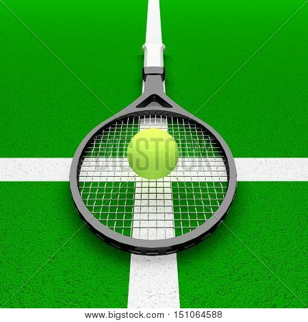Tennis - my religion! The tennis racket and tennis ball are located on the tennis court. 3D illustration
