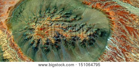 Allegory of cell dividing, aerial photography mirage of a green mountain in the African desert, red, green and yellow textures, space bright green circular green background, red and yellow branches,