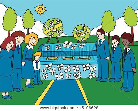 Funeral Ceremony : Mourners gather by the funeral casket decorated with flowers at a cemetery.