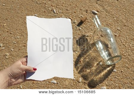 Woman Reading A Message That Came In A Bottle (write Your Own Text)