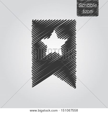 Vector Icon Of Bookmark With Star In Scribble Style