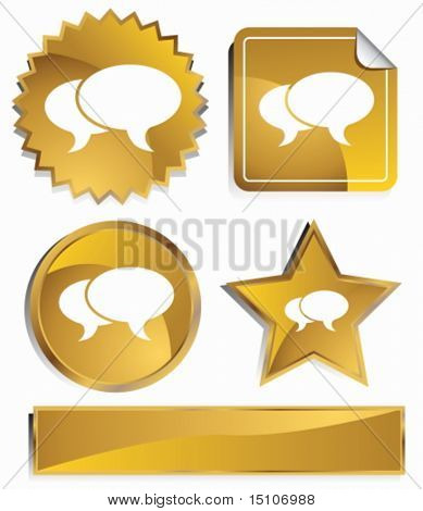 Stock Market Icon Set : Gold satin metal buttons in star, starburst, circle and sticker, label shapes.