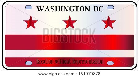 Washington DC state license plate in the colors of the state flag with icons over a white background