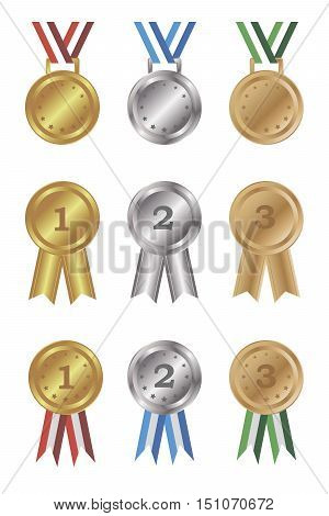 Set of gold silver and bronze medals and awards. Isolated objects on a white background vector illustration