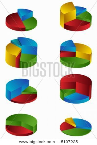Tiered Pie Chart Set Color : Group of pie charts rising up at different levels.