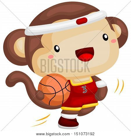 a cute jumping monkey playing basketball happily