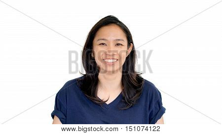 Casual Asian Girl White Background Smiling Face With Relax Tee Shirt..