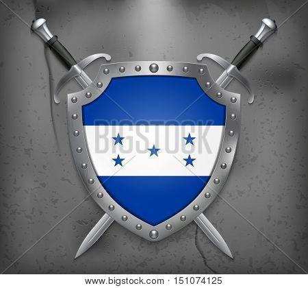 Flag Of Honduras. The Shield Has Flag Illustration. Vector Medieval Background
