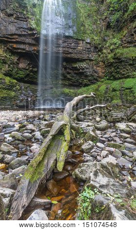 The 90 foot high Henrhyd Falls on the Nant Lech river in the Brecon Beacons South Wales UK