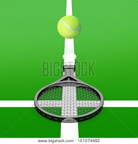 Tennis ball and tennis racket on a tennis court. 3D illustration